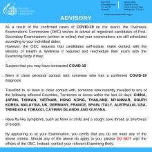 OEC COVID-19 Advisory - Post Secondary Examinations Candidates March 16, 2020